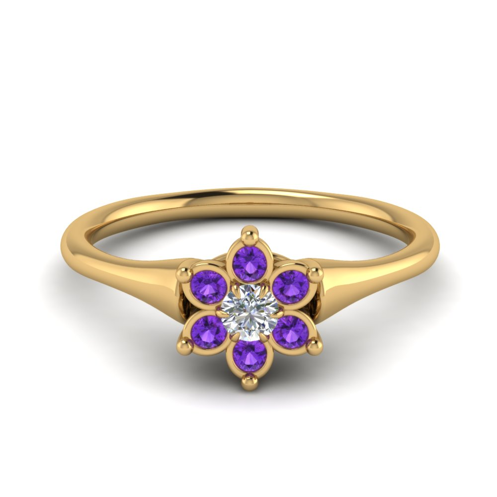 Cluster Flower Ring With Purple Topaz