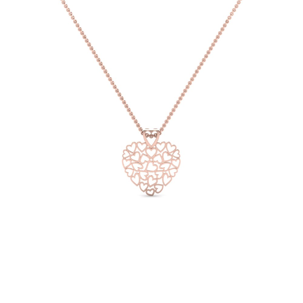 cluster heart pendant necklace in 14K rose gold FDHPD480 NL RG