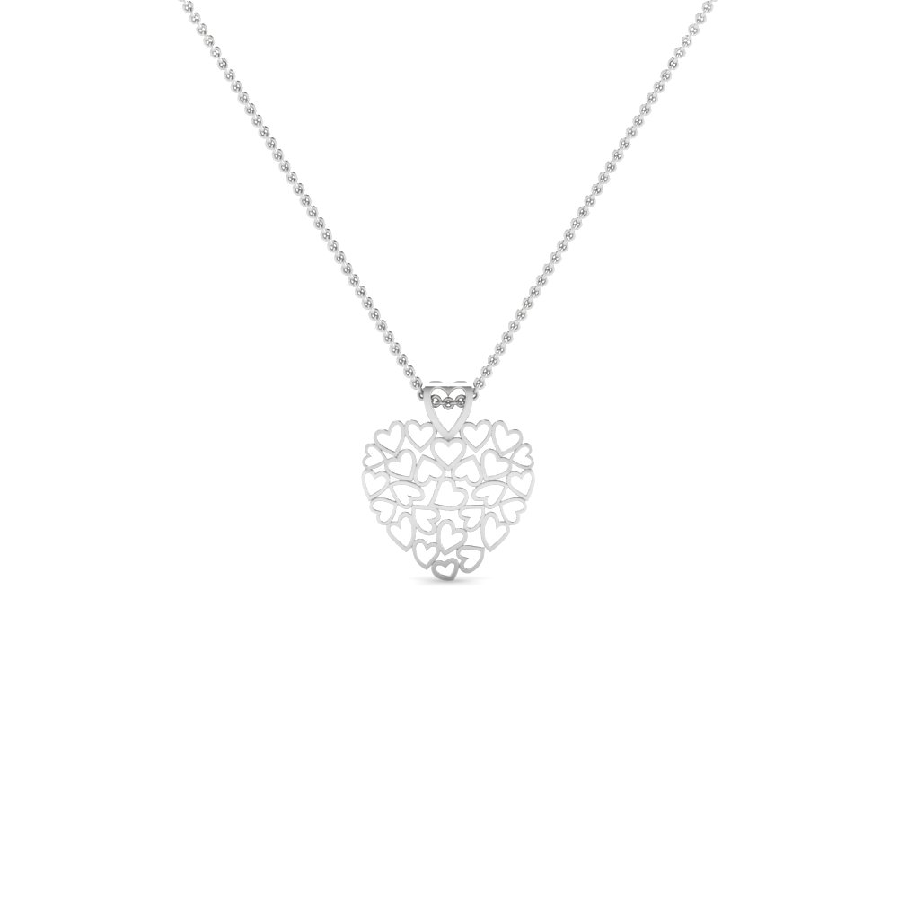 cluster heart pendant necklace in sterling silver FDHPD480 NL WG