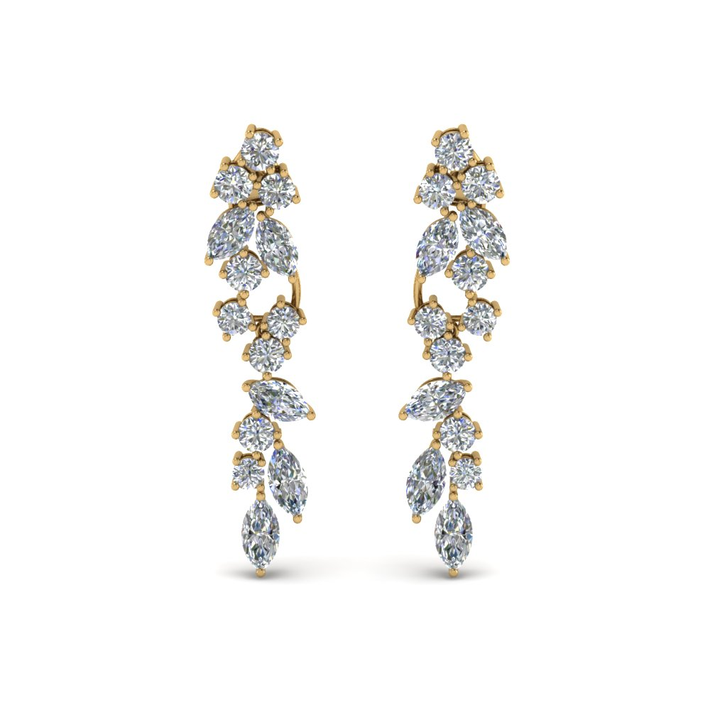 cluster marquise and round drop diamond earring in FDEAR8468ANGLE1 NL YG