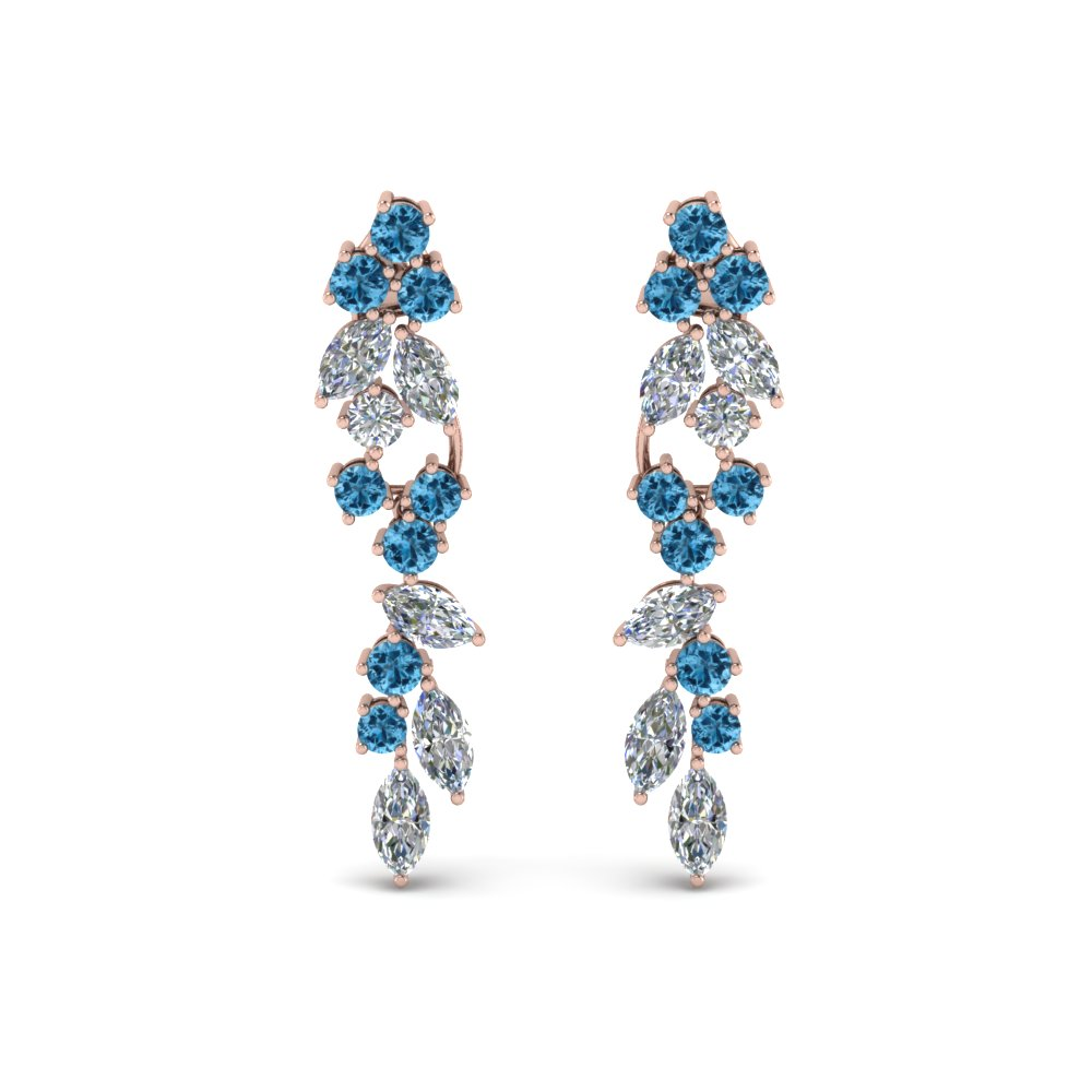 Marquise Diamond Earring With Topaz