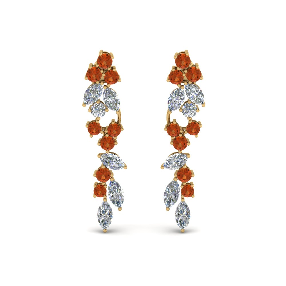 Drop Orange Sapphire Earring