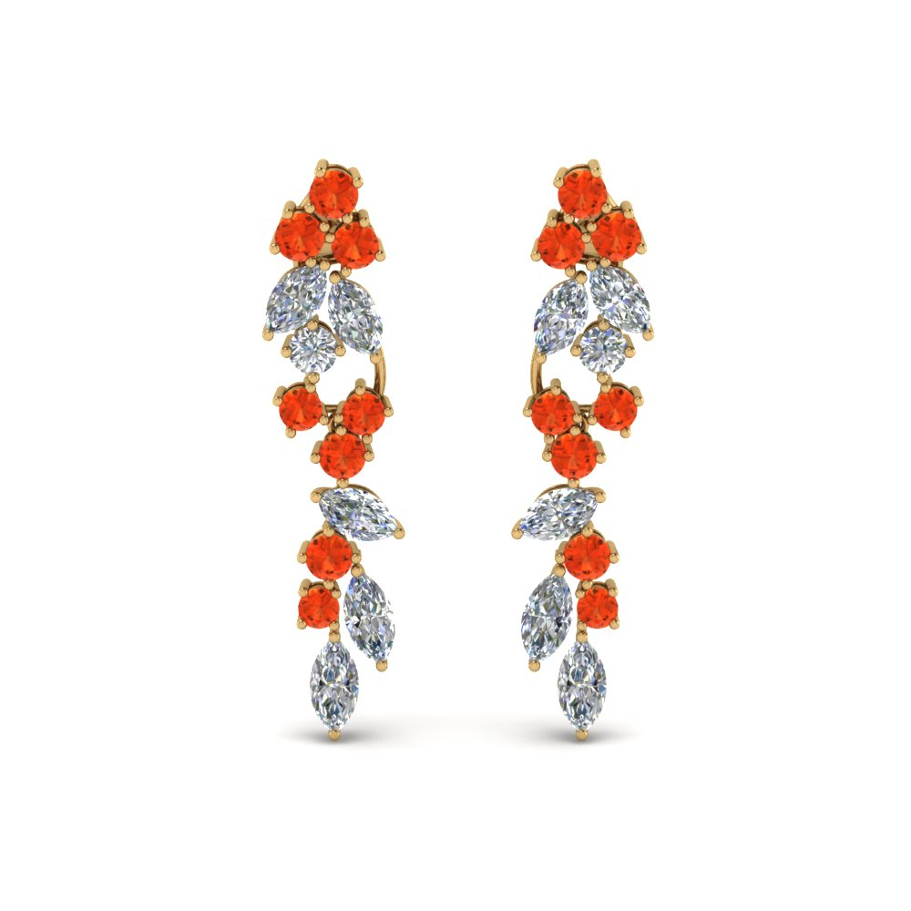 Drop Earrings With Orange Topaz