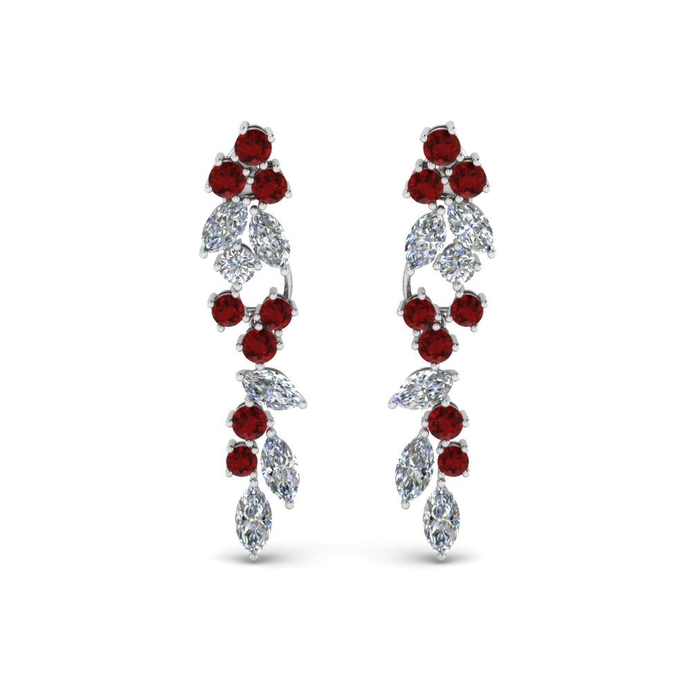 Extraordinary Diamond Earring With Ruby