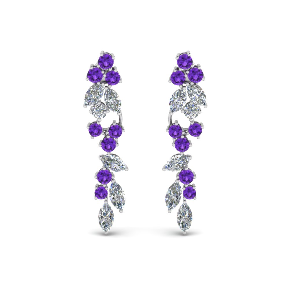 Platinum Purple Topaz Drop Earring