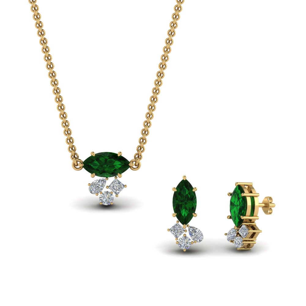 cluster-marquise-pendant-and-matching-earring-with-emerald-in-FD9291GEMGR-NL-YG