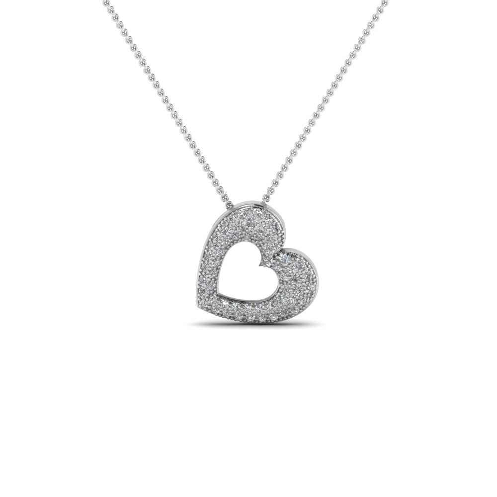 Cheap White Gold Heart Pendant Necklace