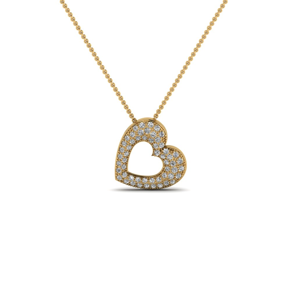 Cluster Pave Heart Pendant Necklace In 14K Yellow Gold