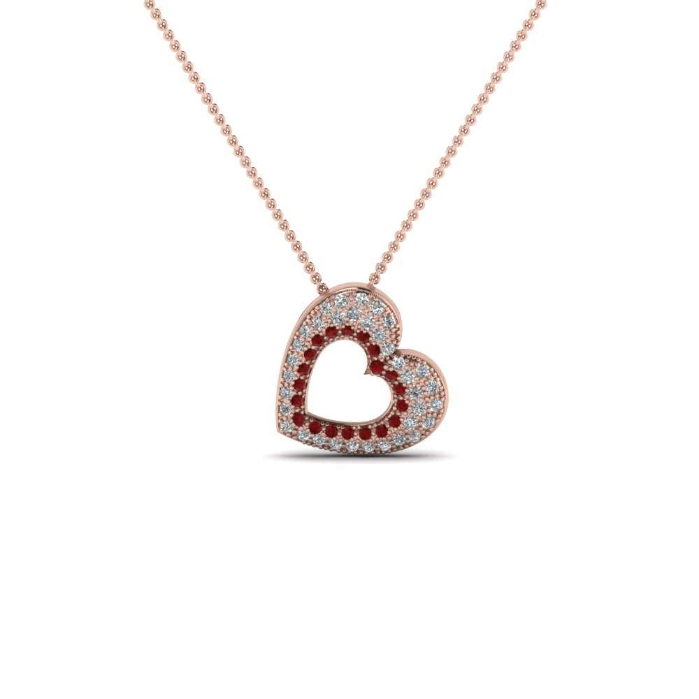 Cluster Pave Heart Pendant Necklace With Ruby In 14K Rose Gold