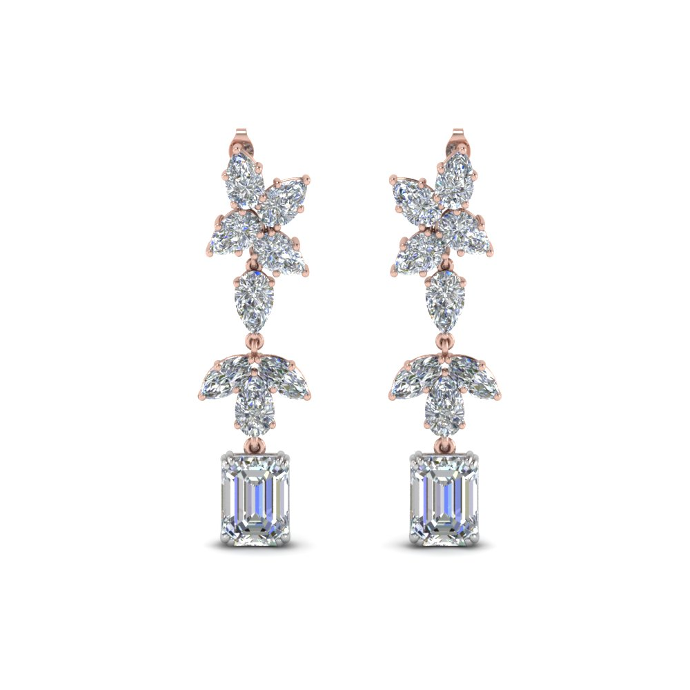 cluster pear diamond drop earring in 14K rose gold FDEAR8559 NL RG