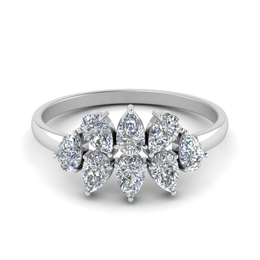 0.75 Ct. Cluster Pear Cut Anniversary Band