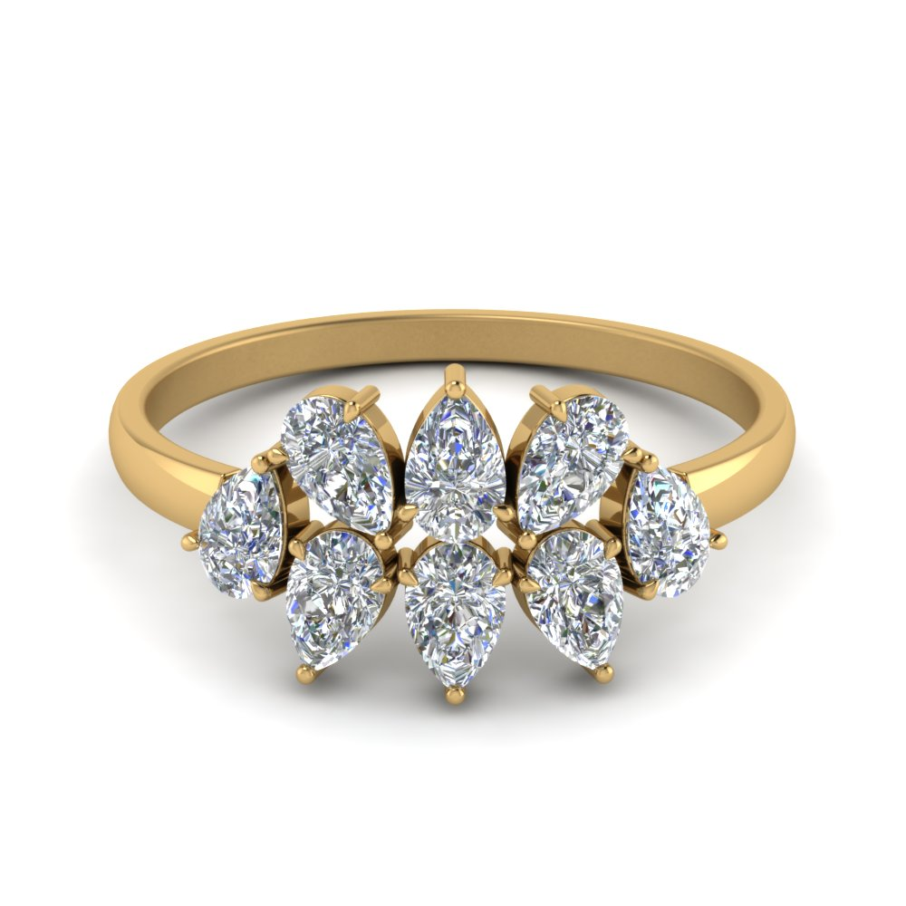 cluster pear shaped diamond anniversary band in FD8966 NL YG