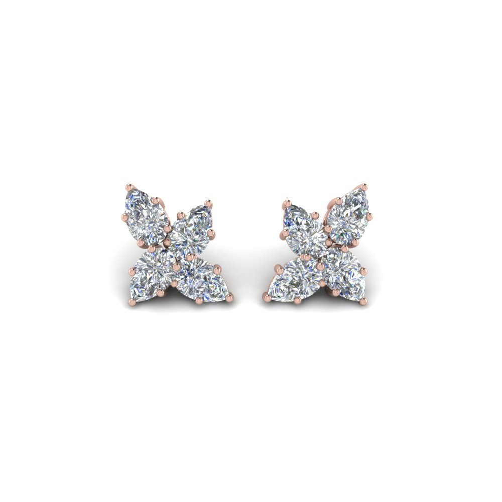 cluster pear shaped diamond earring in FDEAR8546 NL RG