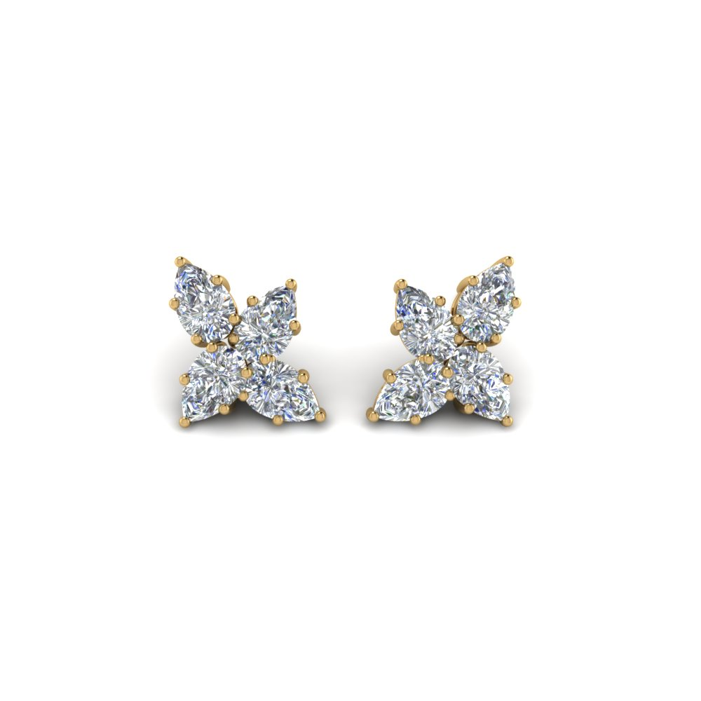 cluster pear diamond earring in FDEAR8546 NL YG