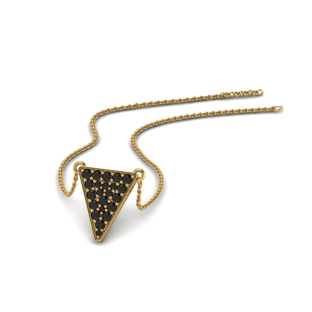 cluster triangle with black diamond pendant in 14K yellow gold FDPD86423GBLACK NL YG