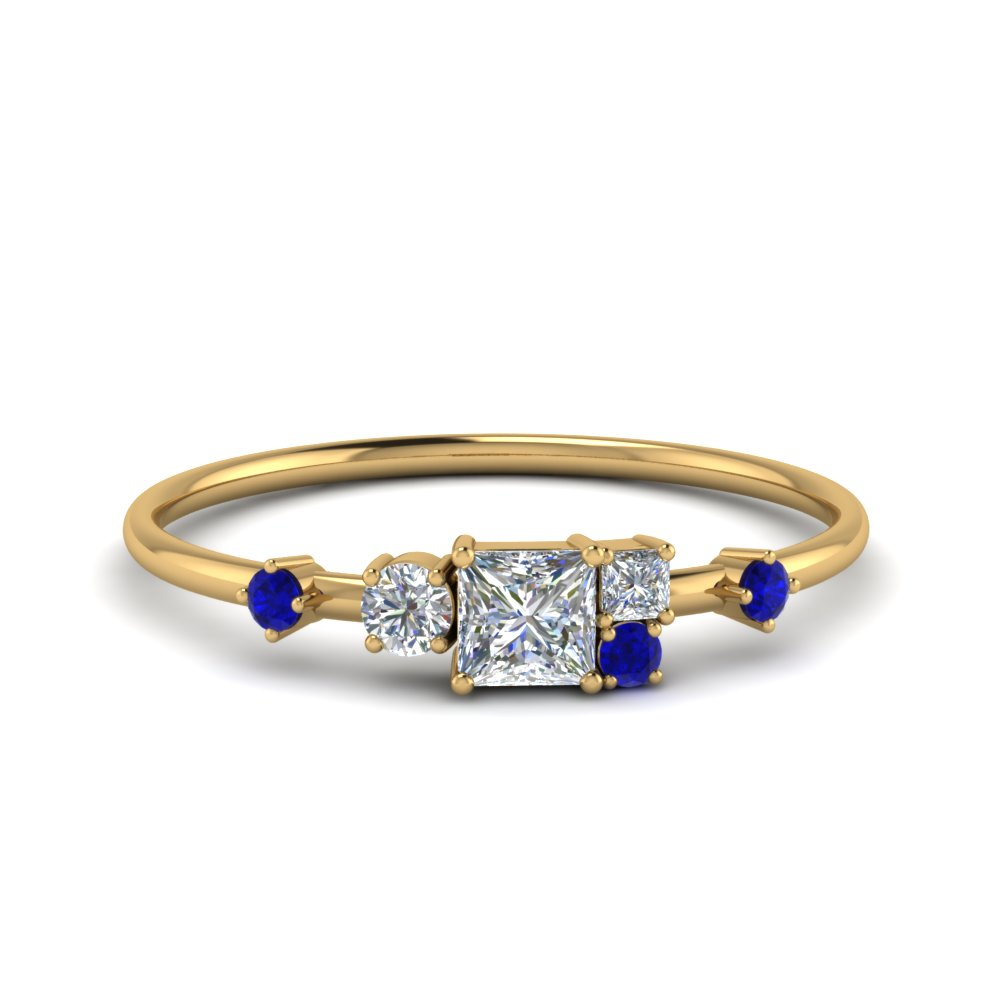 Sapphire Cluster Wedding Band