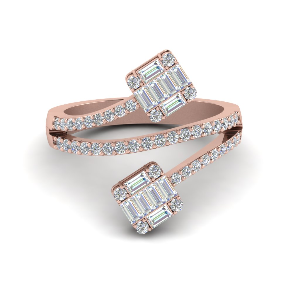 contemporary baguette diamond ring in FD8548R NL RG