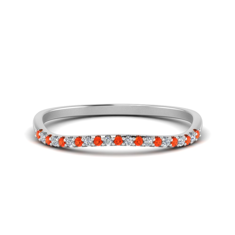 Orange Topaz 14K White Gold Curve Band