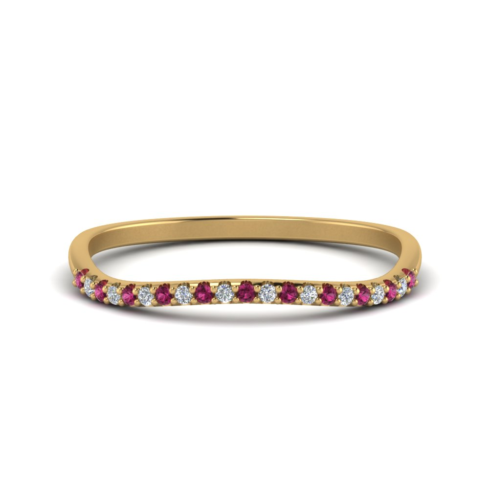 14K Yellow Gold Pink Sapphire Band