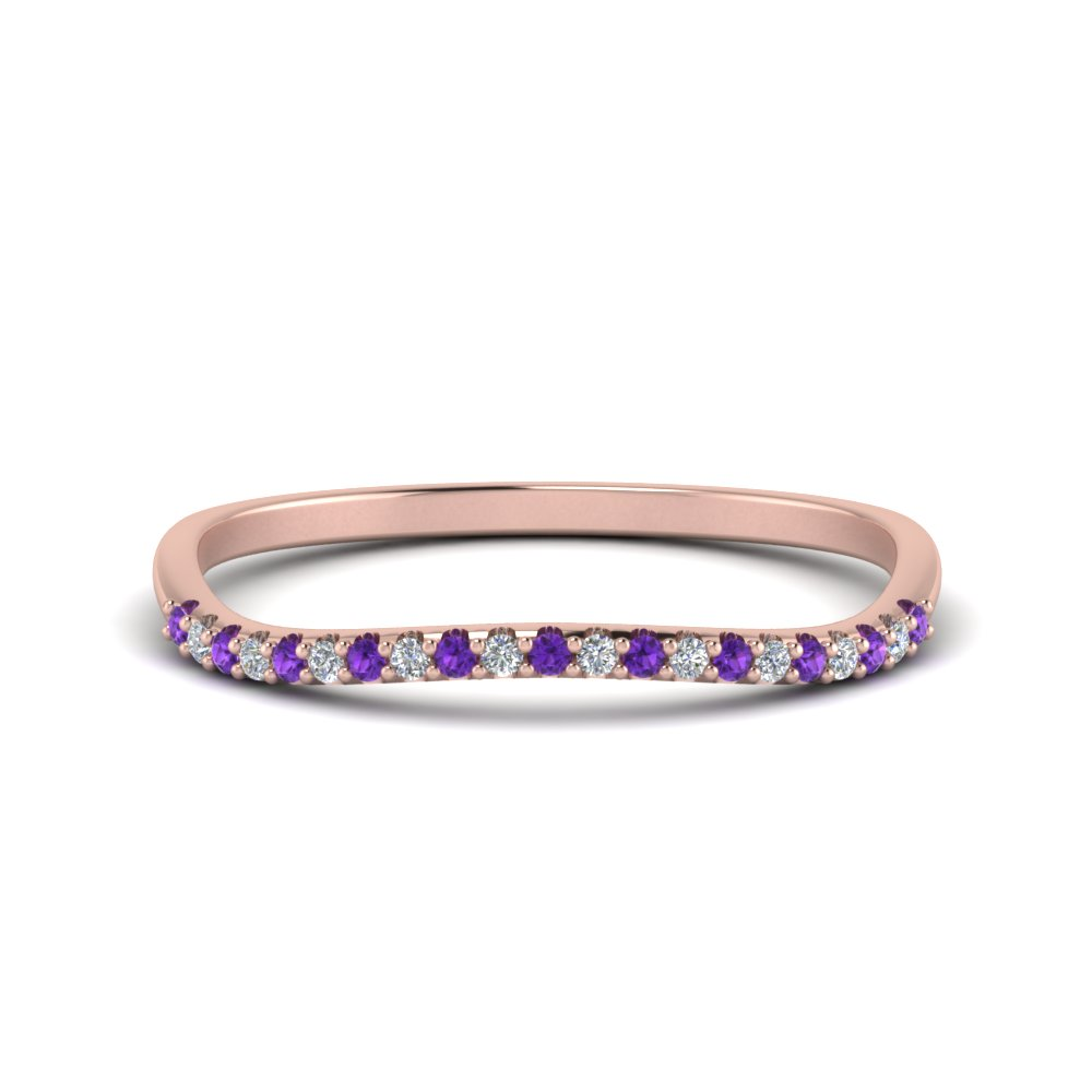 14K Rose Gold Purple Topaz Curve Band