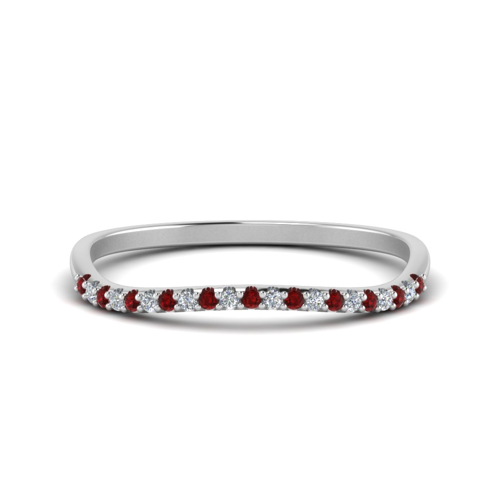 Platinum Curve Ruby Wedding Band