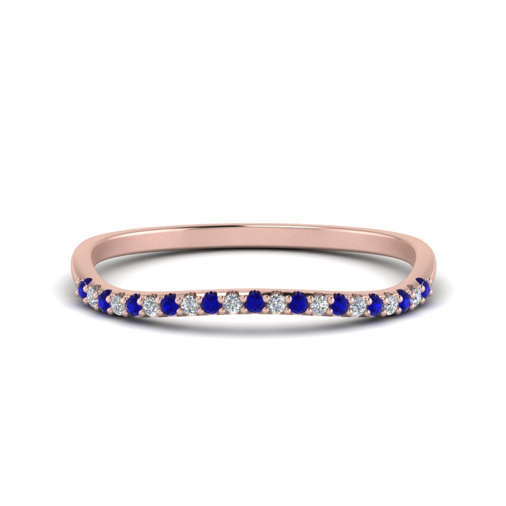 14K Rose Gold Sapphire Curve Band