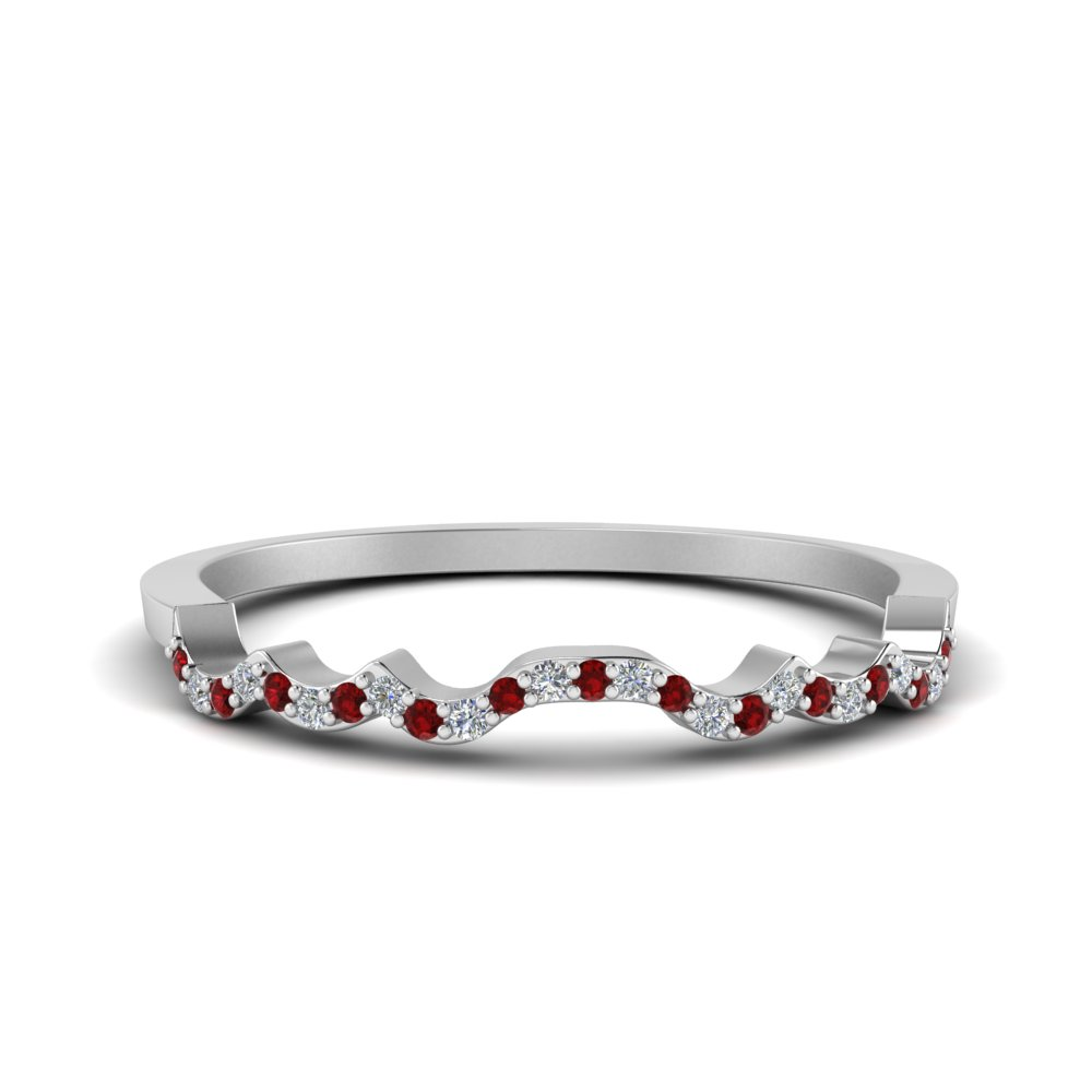 Contour Ruby Diamond Wedding Band