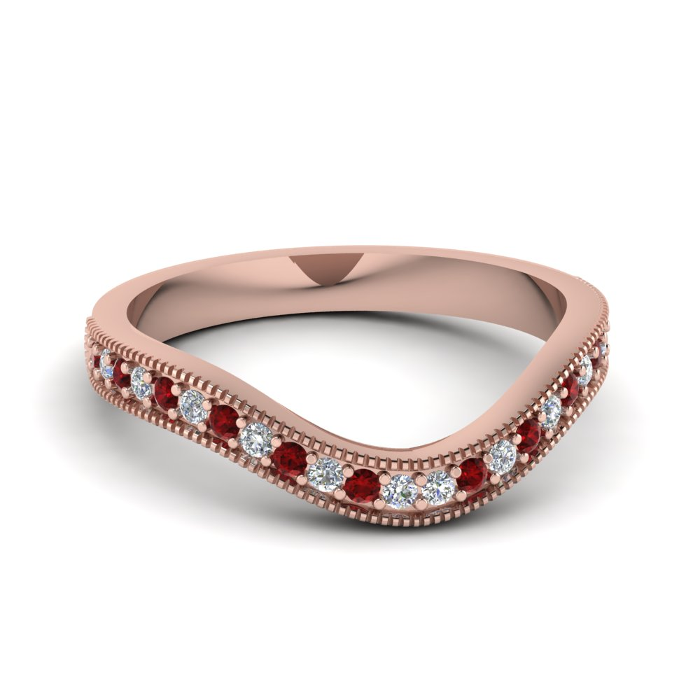 contour pave diamond wedding band with ruby in FDENS3160BGRUDR NL RG
