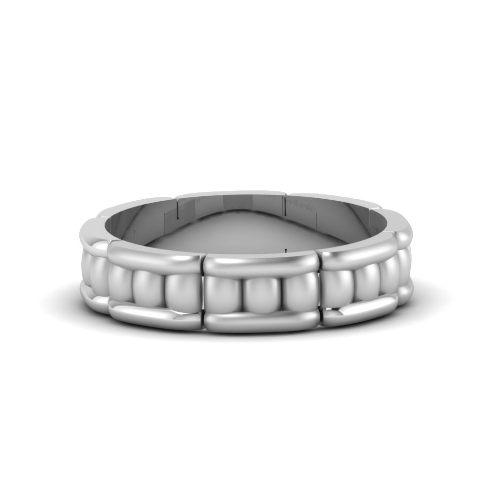 cool mens wedding anniversary band in 14K white gold FDM51776B NL WG