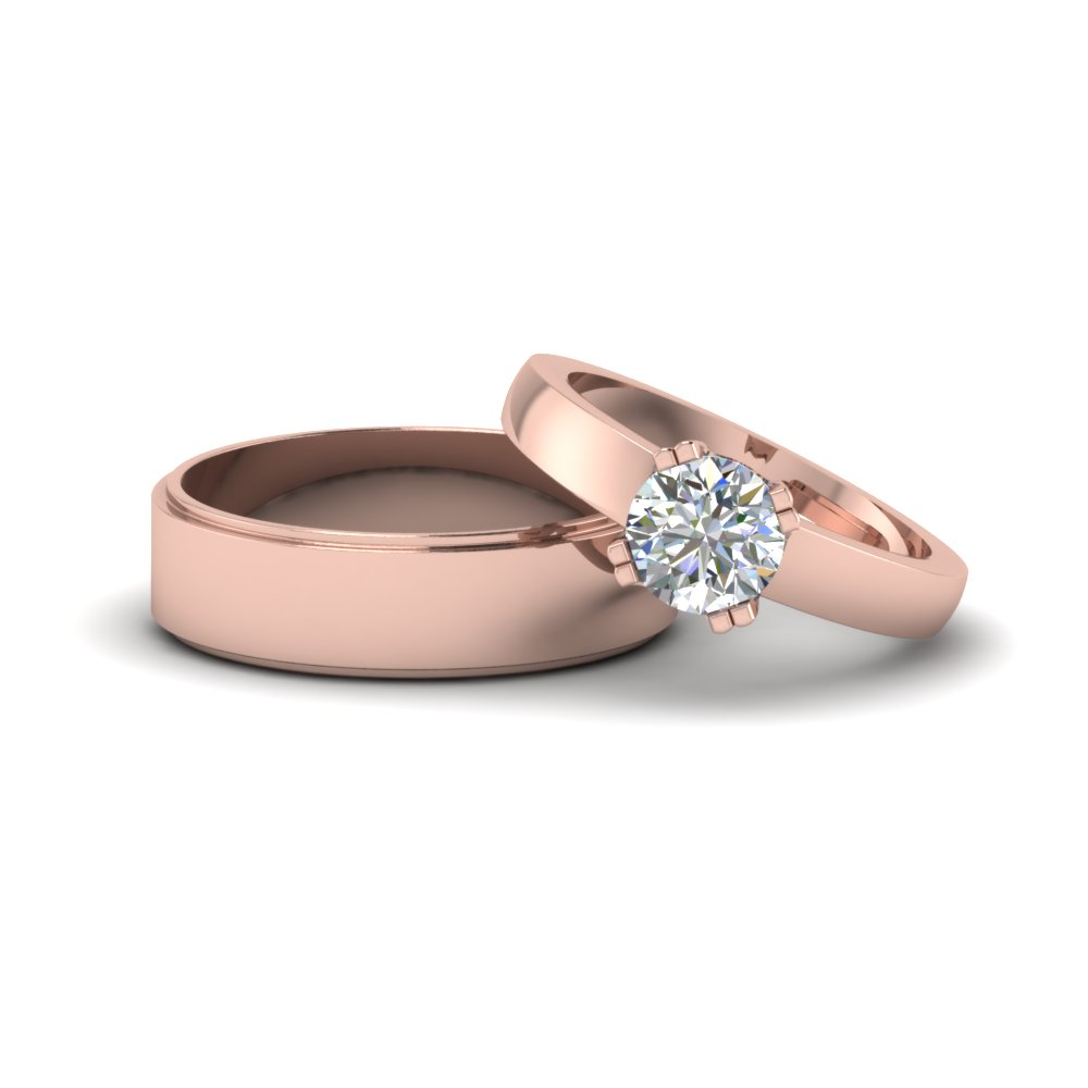 Couples Matching Wedding Anniversary Band Gifts In 14K Rose Gold