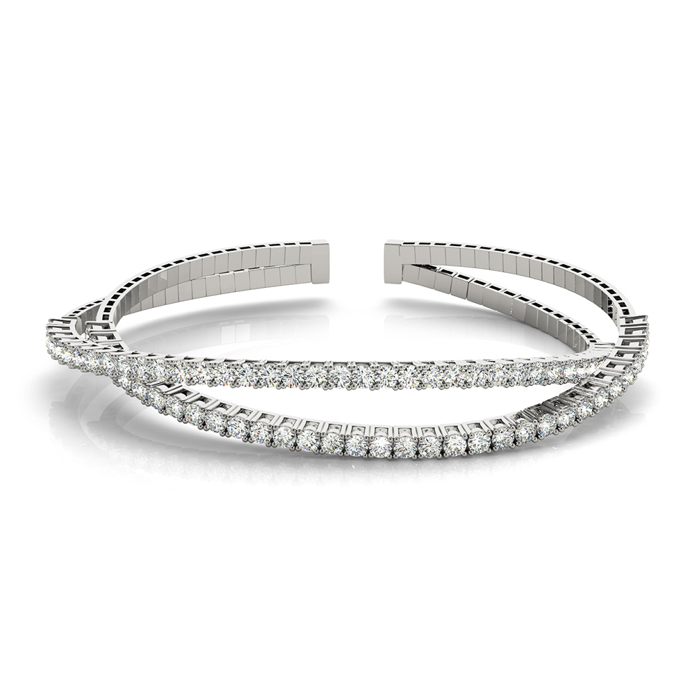 criss cross cuff diamond bracelet in FDOBR70478 NL WG