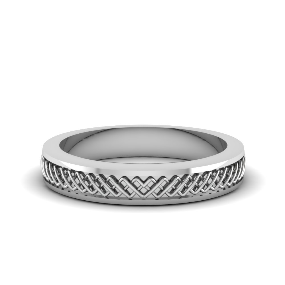 Criss Cross Engraved Wedding Band