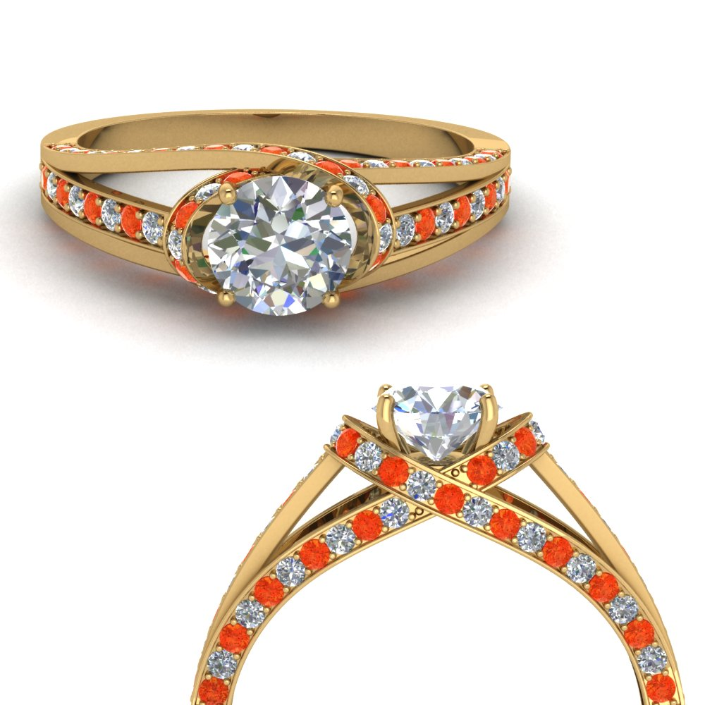 criss cross halo diamond engagement ring with orange topaz in FDENR8359RORGPOTOANGLE3 NL YG.jpg