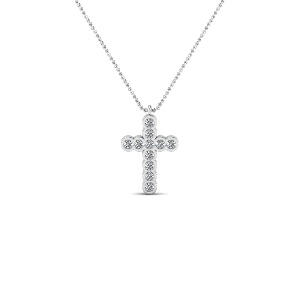 cross bezel set diamond pendant necklace in 14K white gold FDRPD117 NL WG