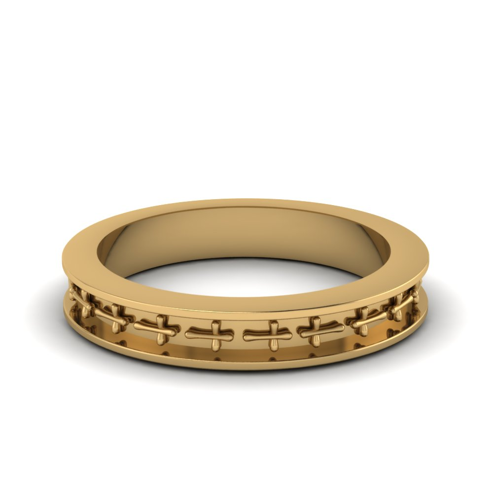 cross design mens band ring in 14K yellow gold FDENS3632B NL YG