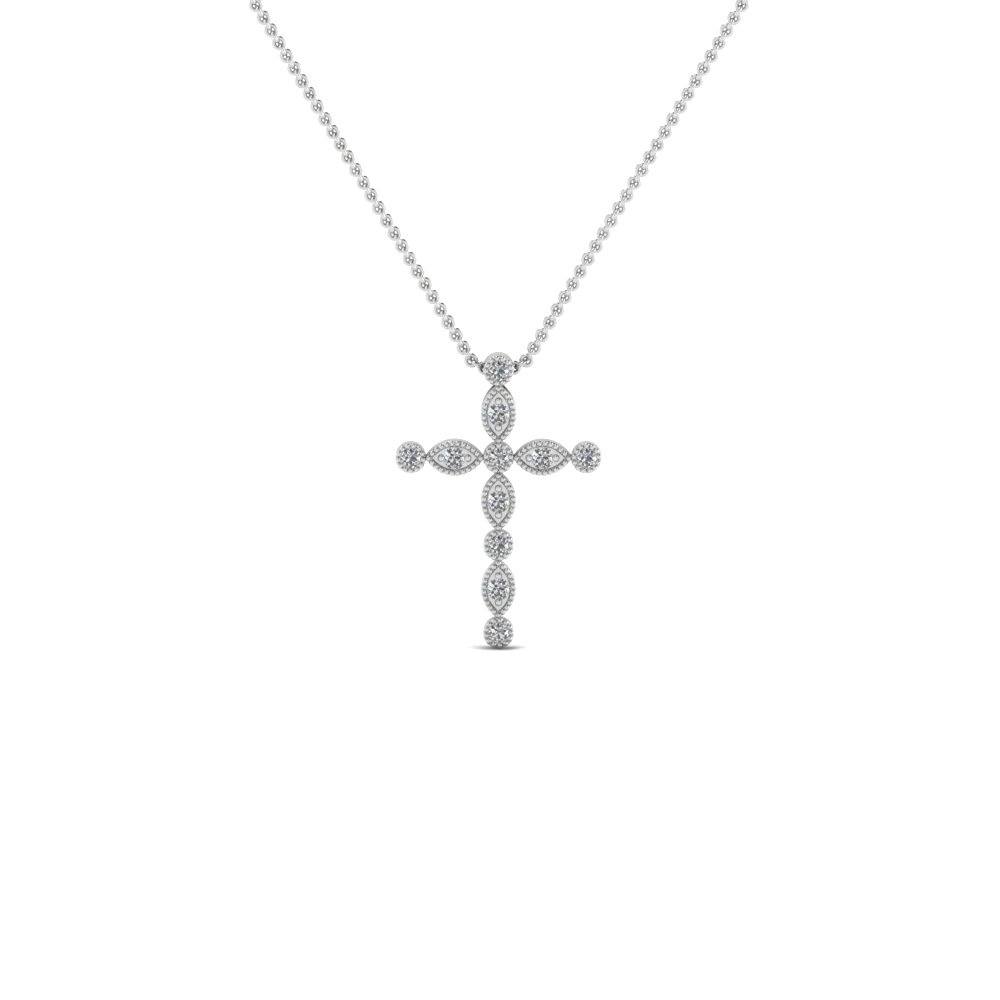 cross diamond religious pendant necklace in FDRPD1049 NL WG
