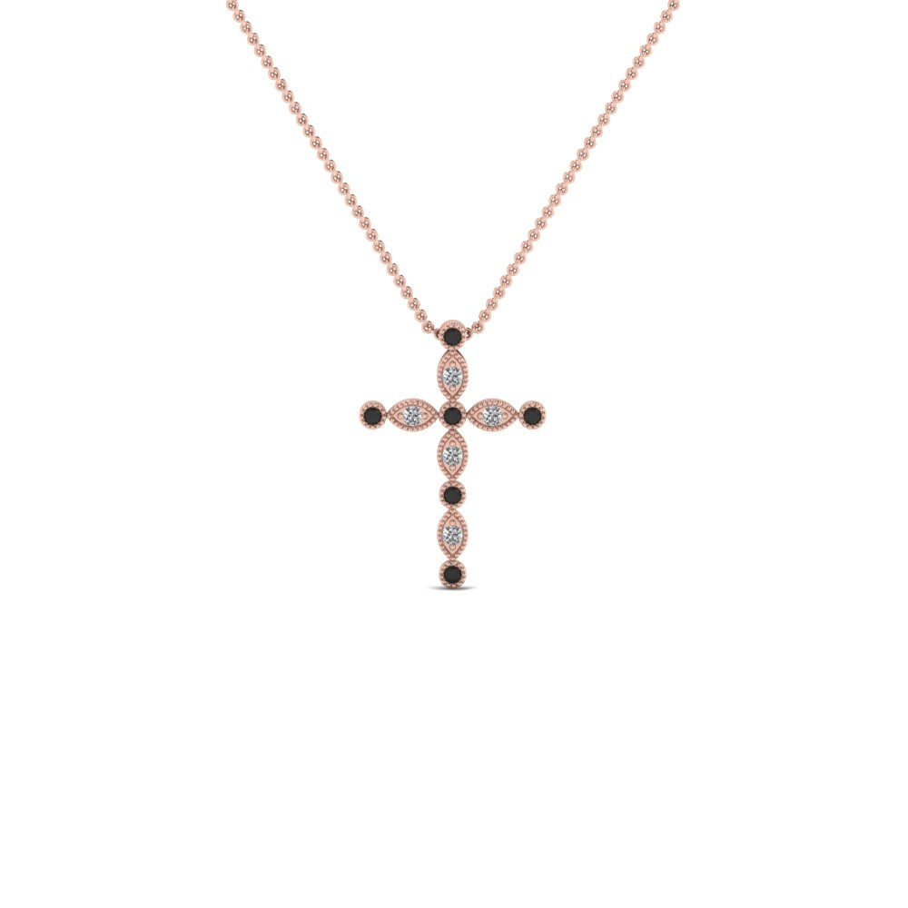 cross diamond religious pendant necklace with black diamond in FDRPD1049GBLACK NL RG