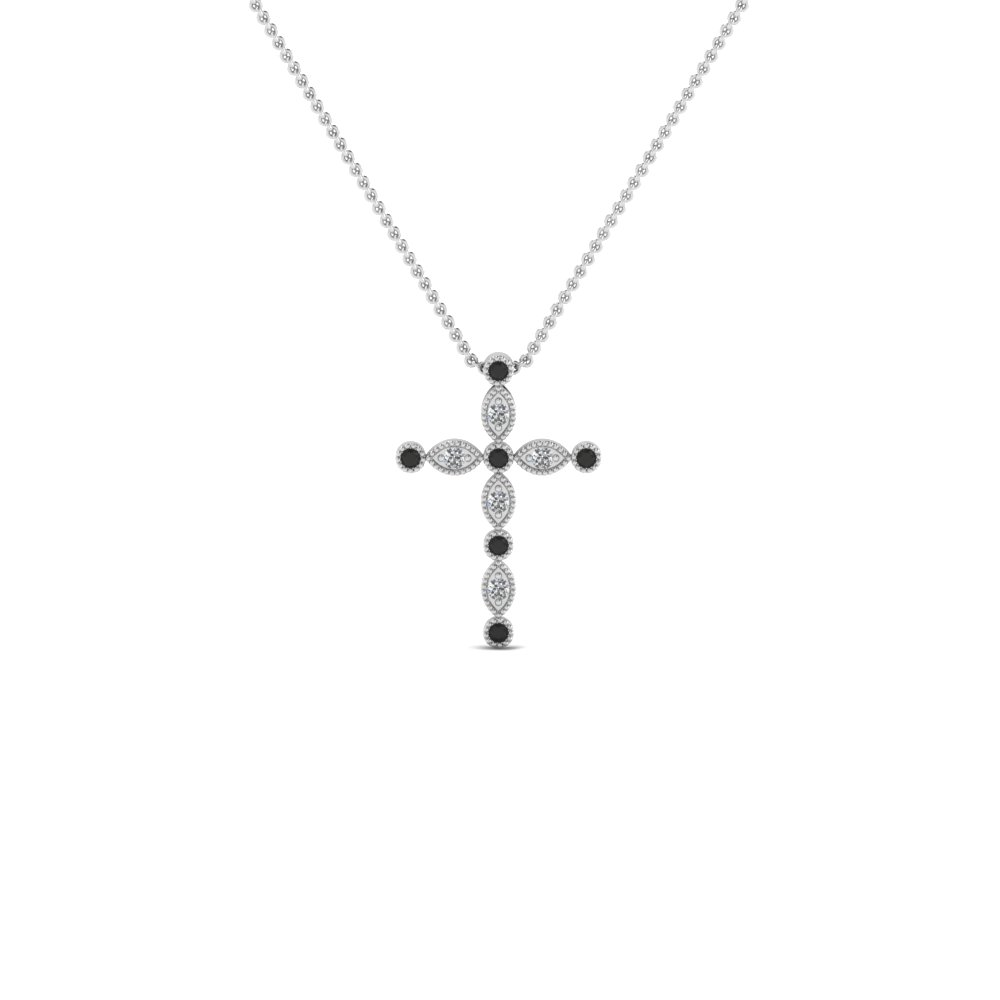 cross diamond religious pendant necklace with black diamond in FDRPD1049GBLACK NL WG