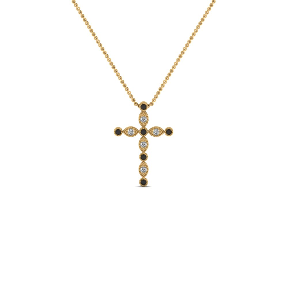 cross diamond religious pendant necklace with black diamond in FDRPD1049GBLACK NL YG