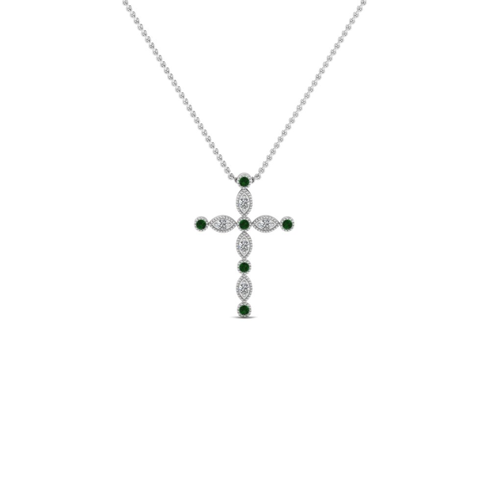 cross diamond religious pendant necklace with emerald in FDRPD1049GEMGR NL WG
