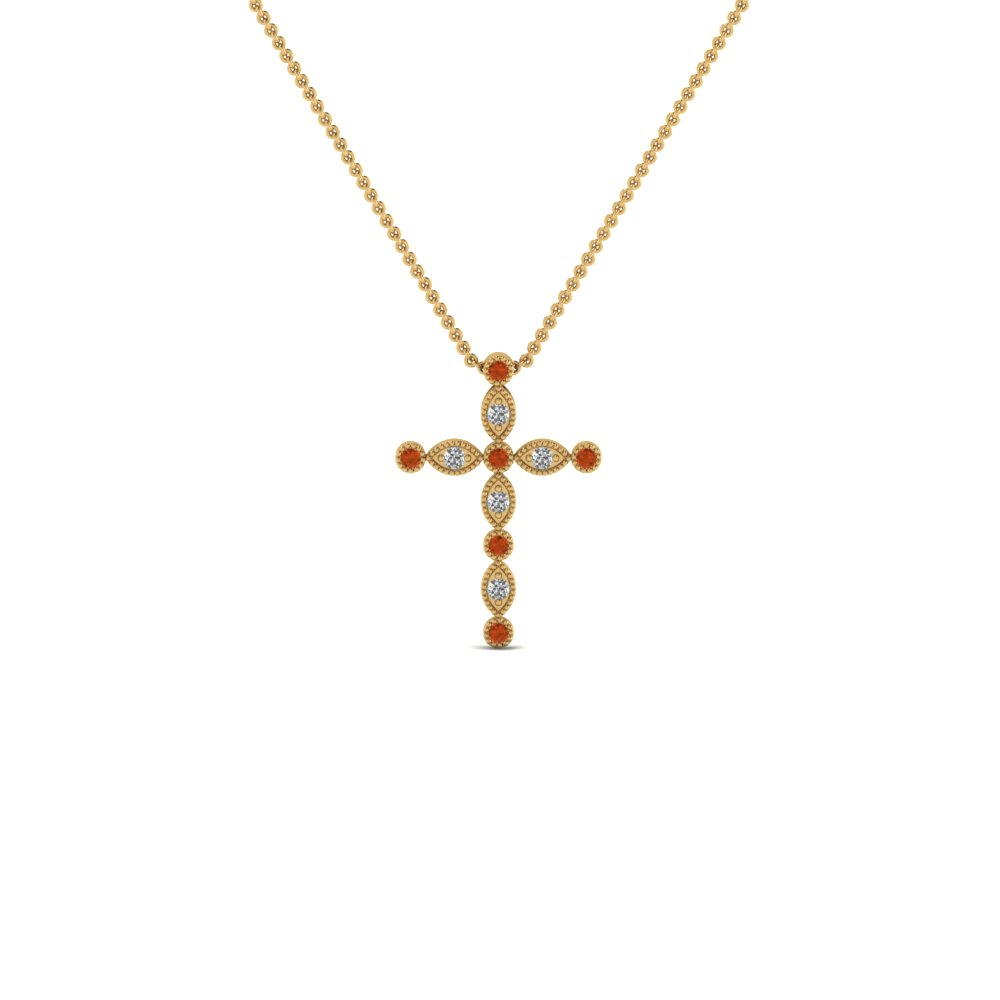 cross diamond religious pendant necklace with orange sapphire in FDRPD1049GSAOR NL YG