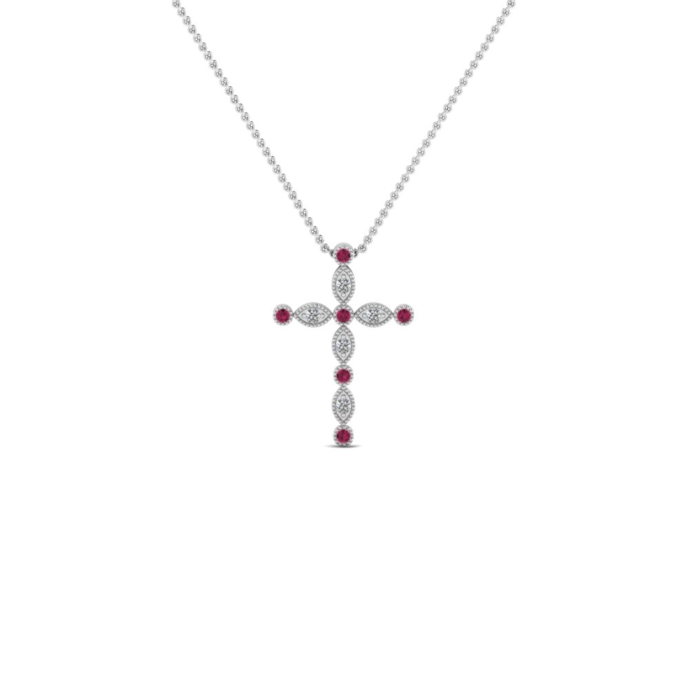 cross diamond religious pendant necklace with pink sapphire in FDRPD1049GSADRPI NL WG
