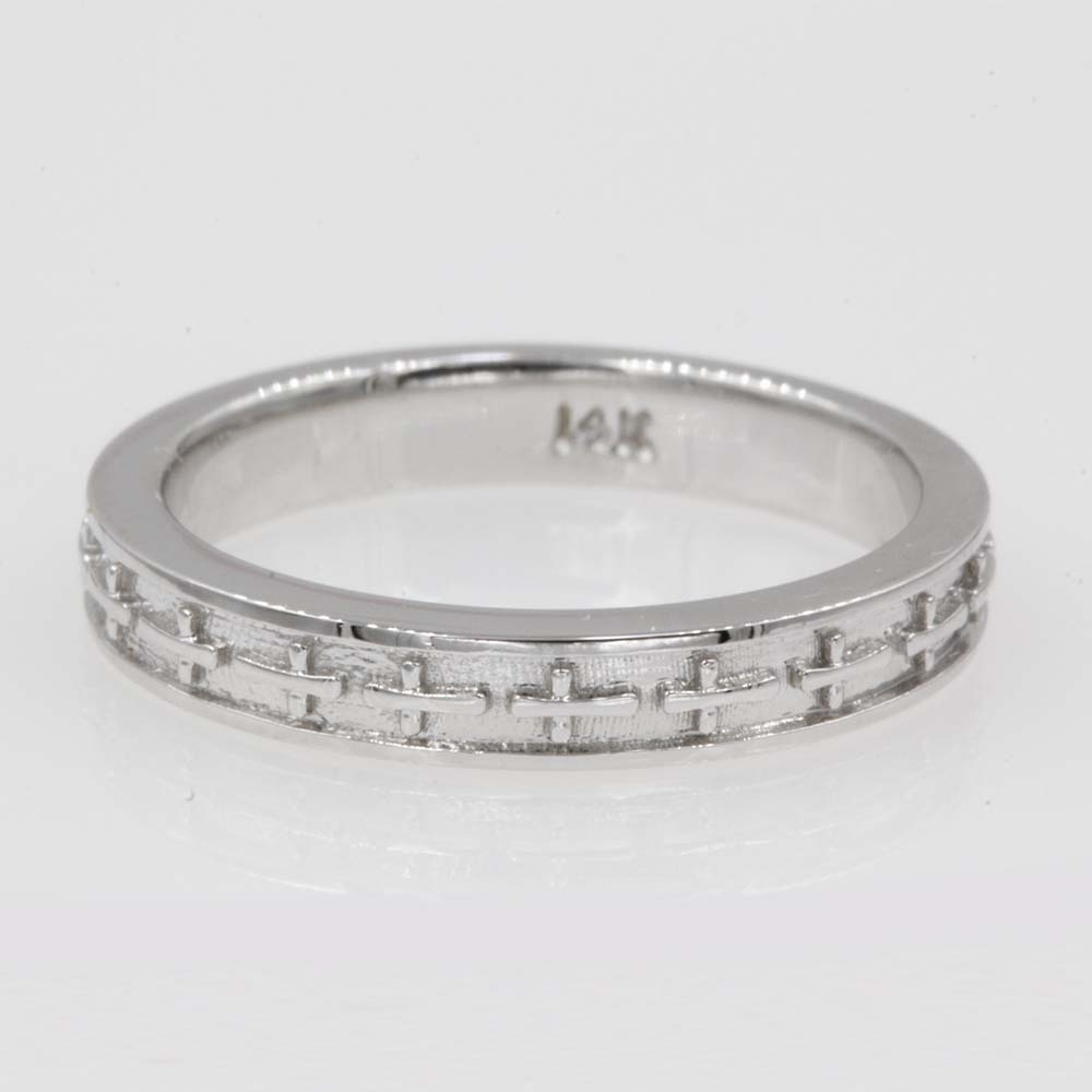 cross engraved wedding band in 14K white gold FDENS3632B