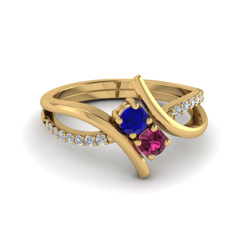 Crossover 2 Sapphire And Diamond Engagement Ring In 14K Yellow Gold