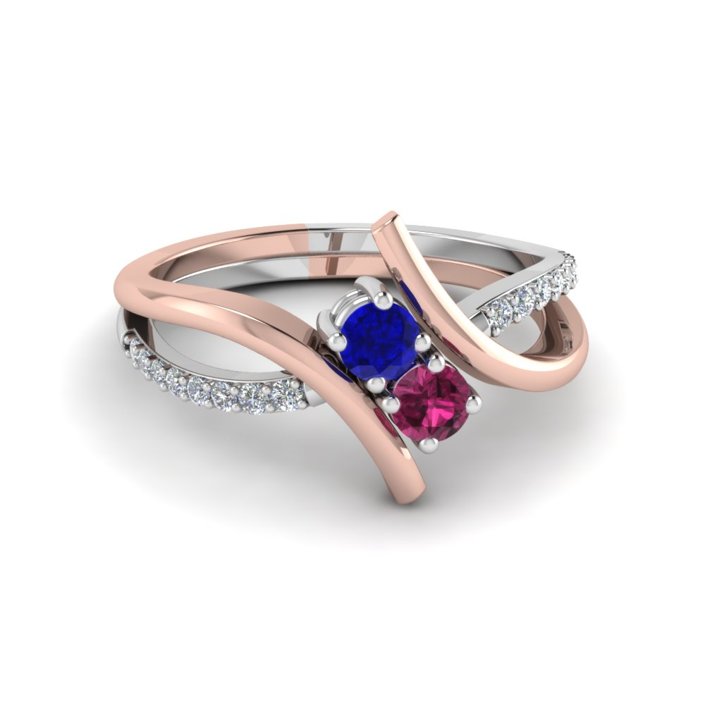 crossover 2 sapphire two tone diamond engagement ring in 14K rose gold FD652210RORGBSPS NL RG