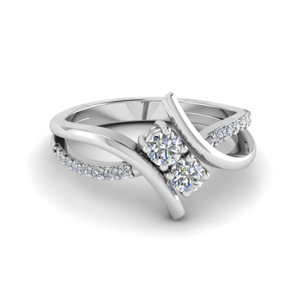 crossover 2 stone diamond alternate engagement ring in 14K white gold FD652210ROR NL WG