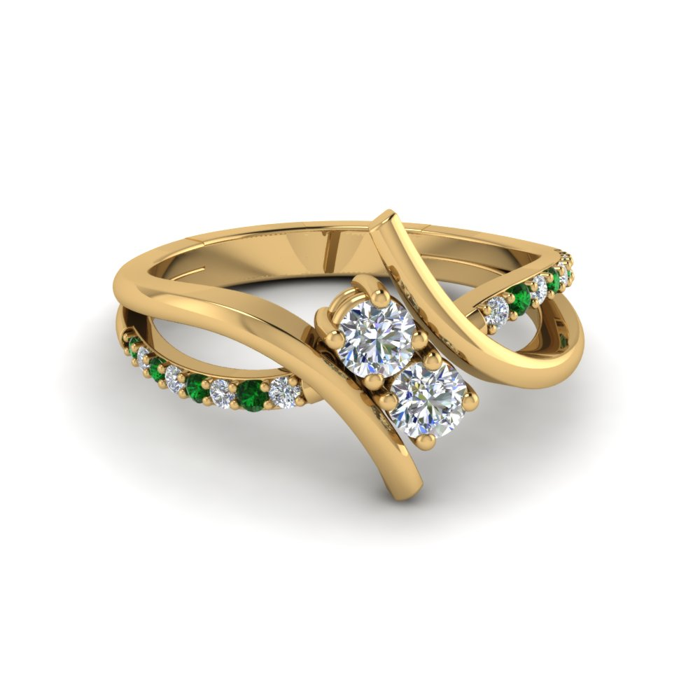 Crossover 2 Stone Emerald Ring