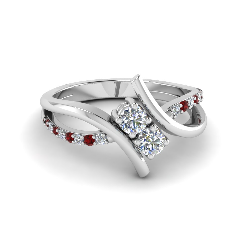 White Gold 2 Stone Crossover Diamond and Gemstone Engagement Ring with Ruby