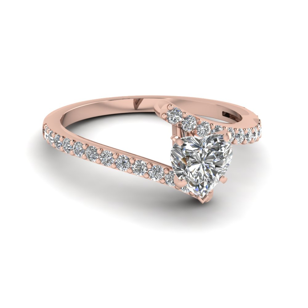 crossover heart diamond engagement ring in FDENS3007HTR NL RG