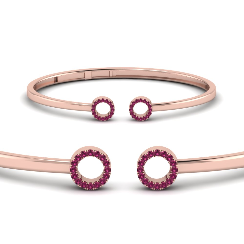 Crossover Circle Pink Sapphire Bangle